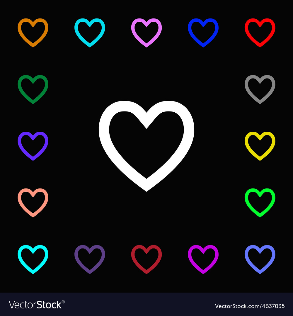 Medical heart love icon sign lots of colorful vector | Price: 1 Credit (USD $1)