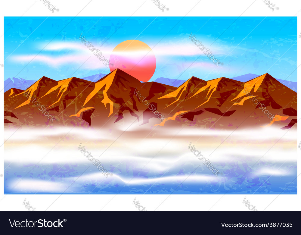 Peaks in the haze and clouds vector | Price: 1 Credit (USD $1)