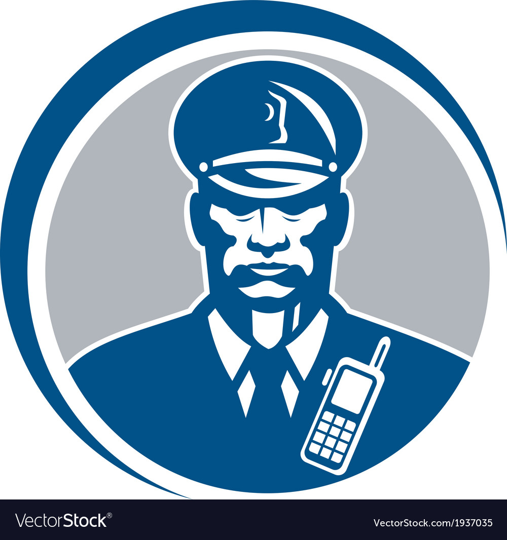 Security guard police officer radio circle vector | Price: 1 Credit (USD $1)