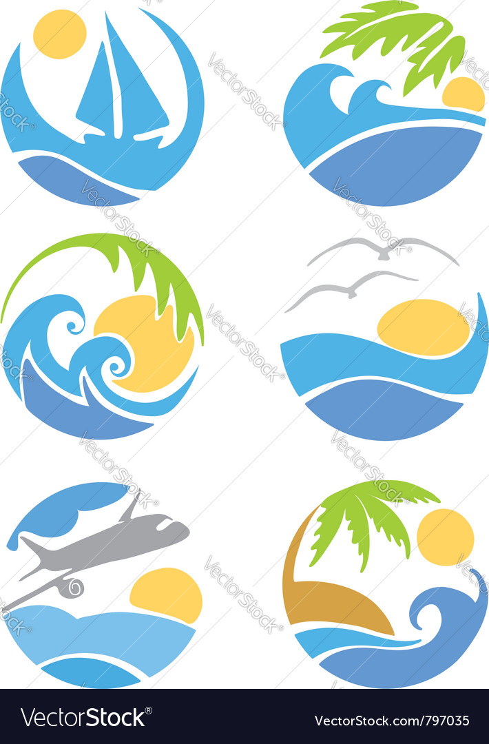 Set icons  travel and vacation vector
