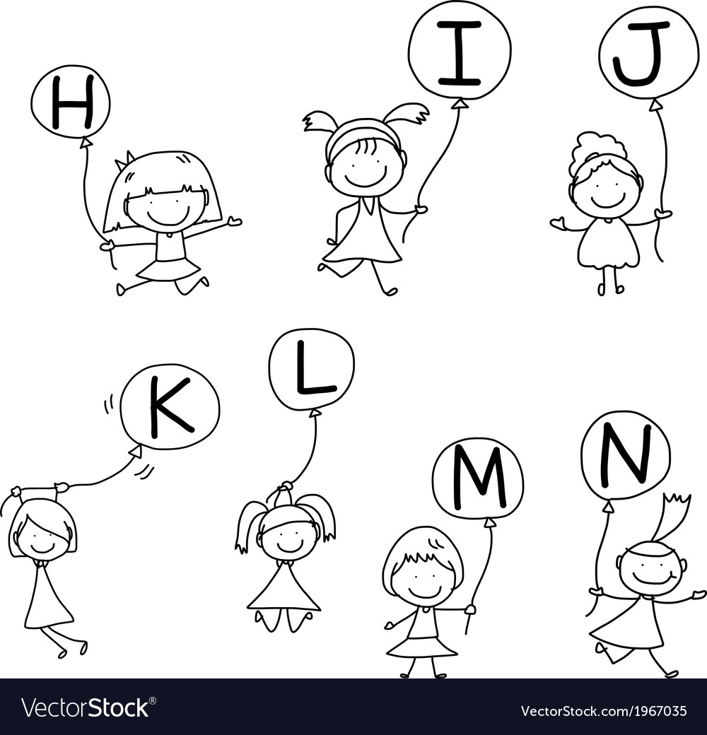 Set of happy alphabet hand-drawn cartoon vector | Price: 1 Credit (USD $1)