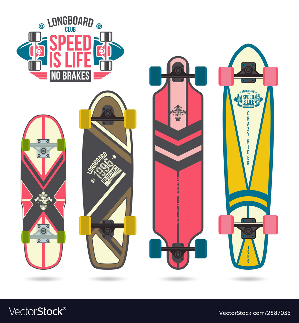 Set of prints on longboard vector | Price: 1 Credit (USD $1)
