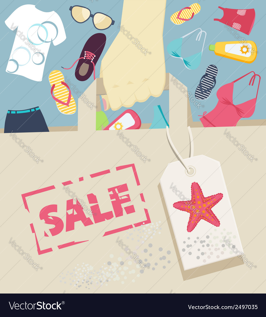 Shopping bag with summer accessories and beachwear vector | Price: 1 Credit (USD $1)