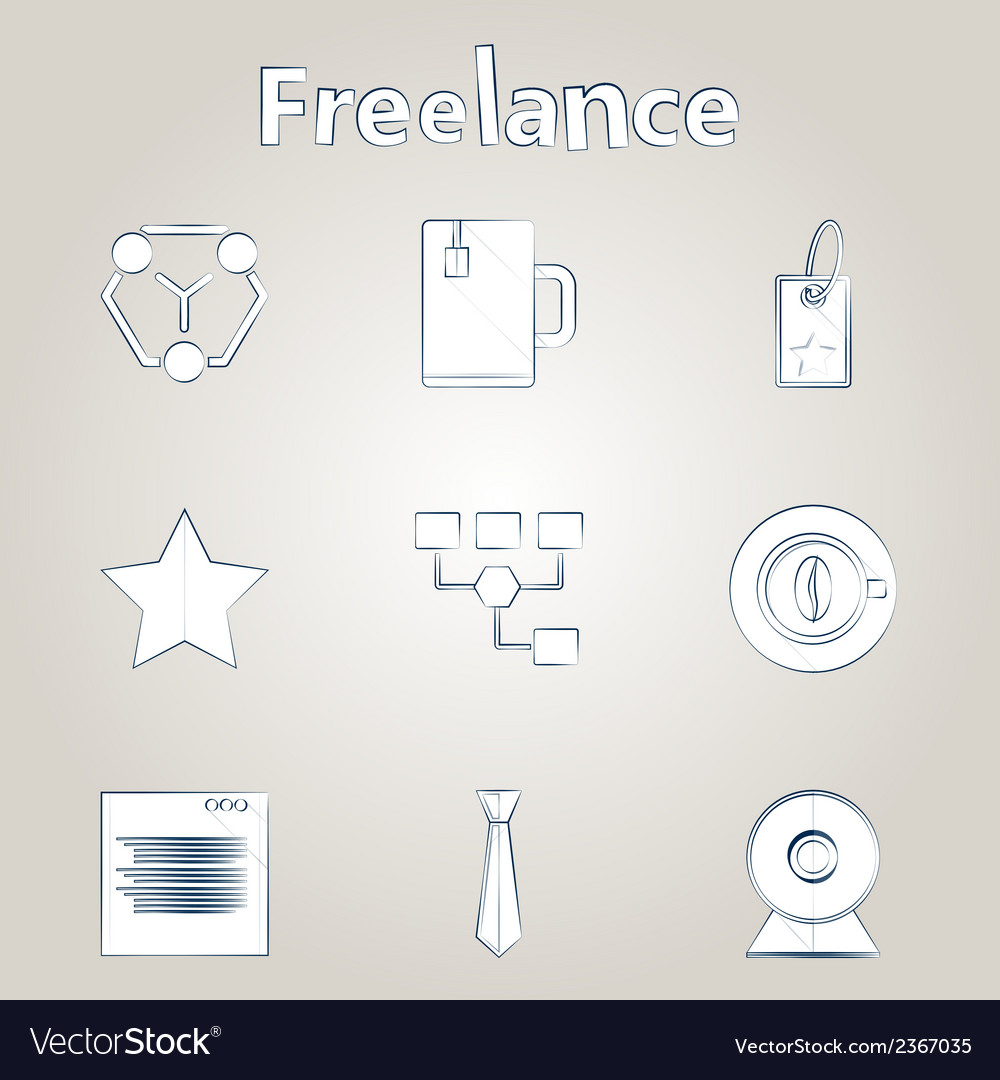 Sketch icons for freelance and business vector | Price: 1 Credit (USD $1)