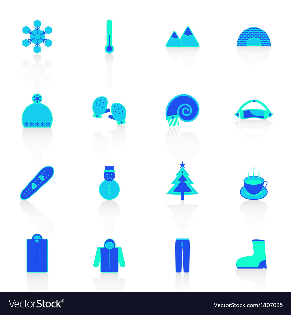 Winter icons with reflect on white background vector | Price: 1 Credit (USD $1)