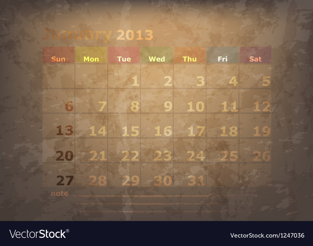 Antique calendar of january vector | Price: 1 Credit (USD $1)