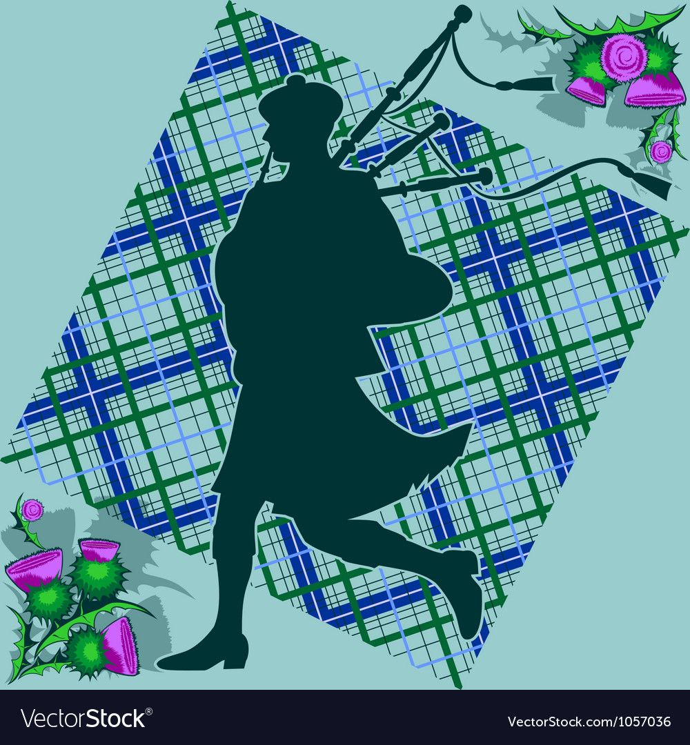Bagpiper and thistle vector | Price: 1 Credit (USD $1)
