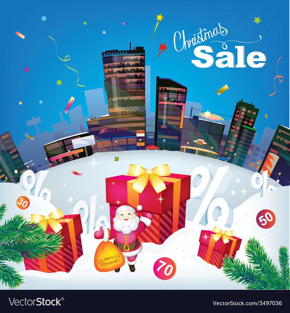 Christmas city sale vector | Price: 3 Credit (USD $3)