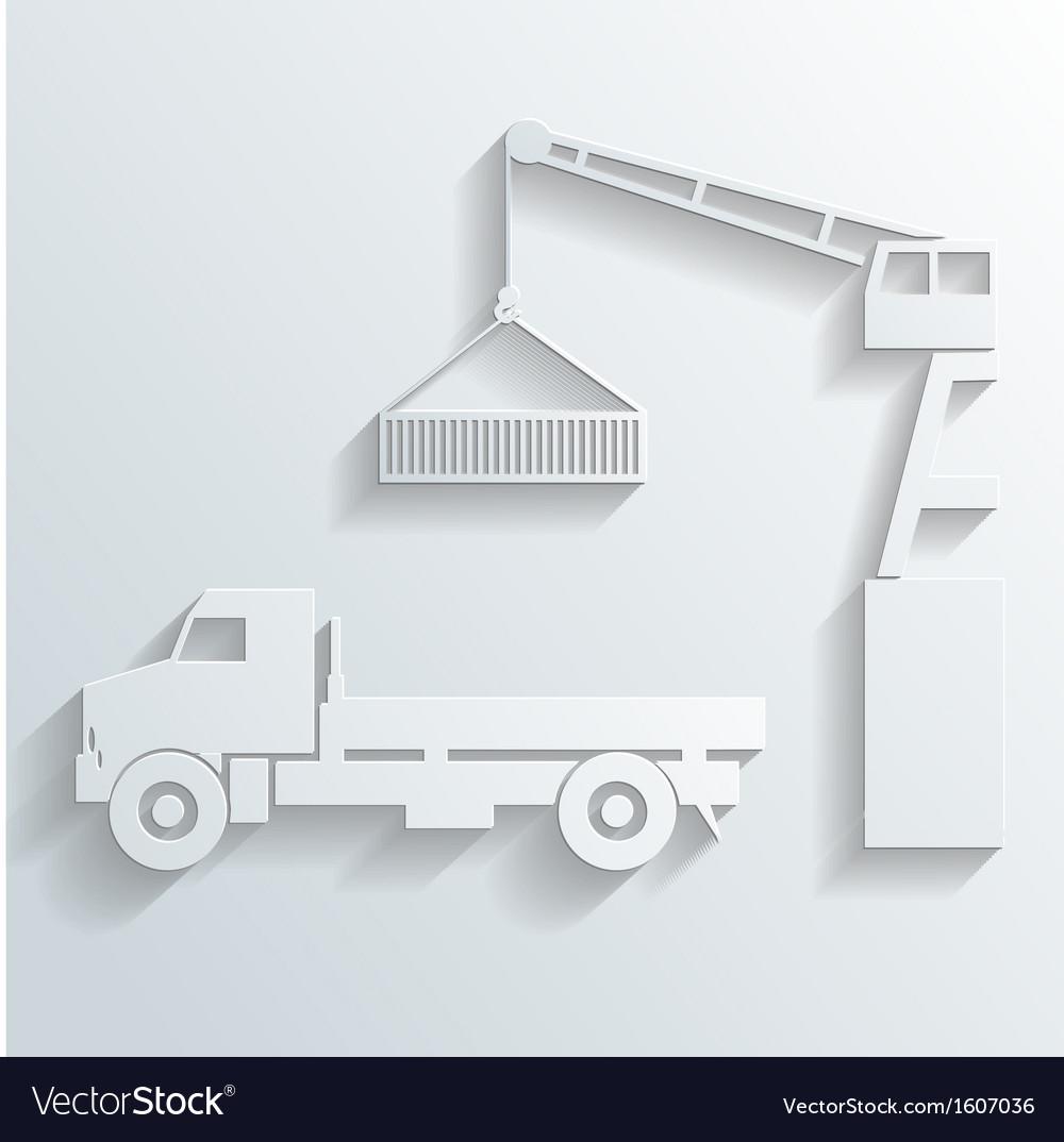 Crane loading onto truck vector   Price: 1 Credit (USD $1)