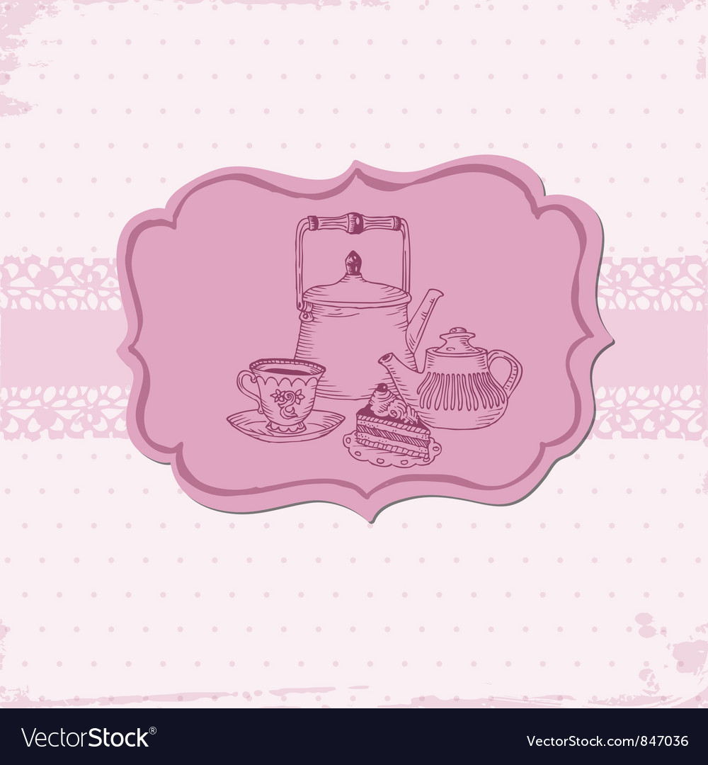 Cute card with cake and teapots vector | Price: 1 Credit (USD $1)
