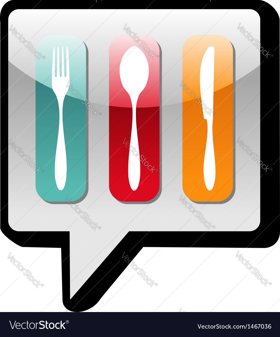 Cutlery icons social network bubble vector | Price: 1 Credit (USD $1)