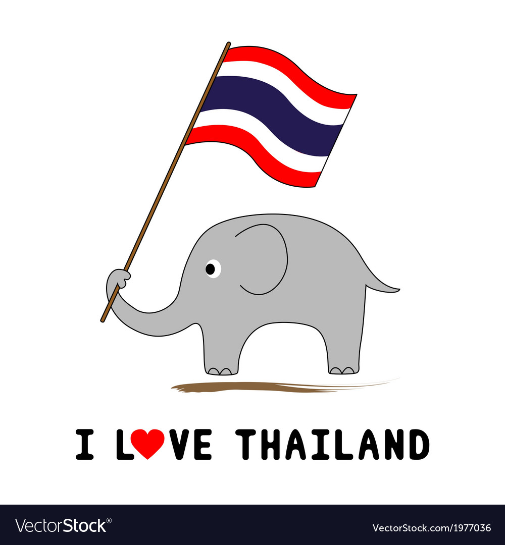 Elephant hold thai flag1 vector | Price: 1 Credit (USD $1)