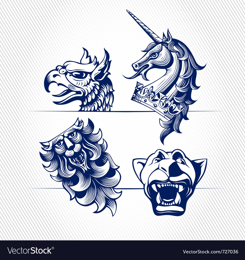 Engraving icons of animals vector | Price: 1 Credit (USD $1)