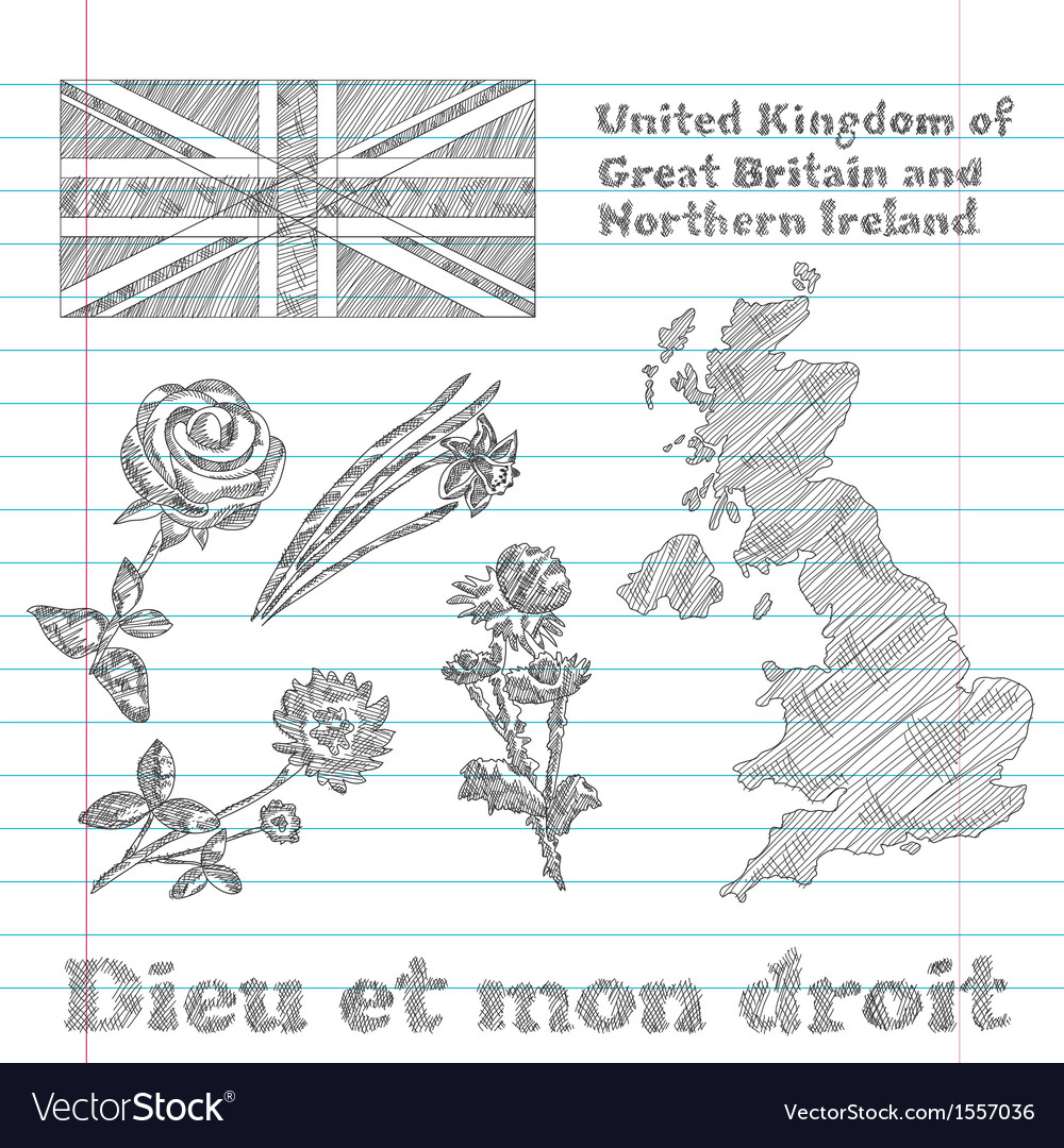 Floral symbols of united kingdom vector | Price: 1 Credit (USD $1)
