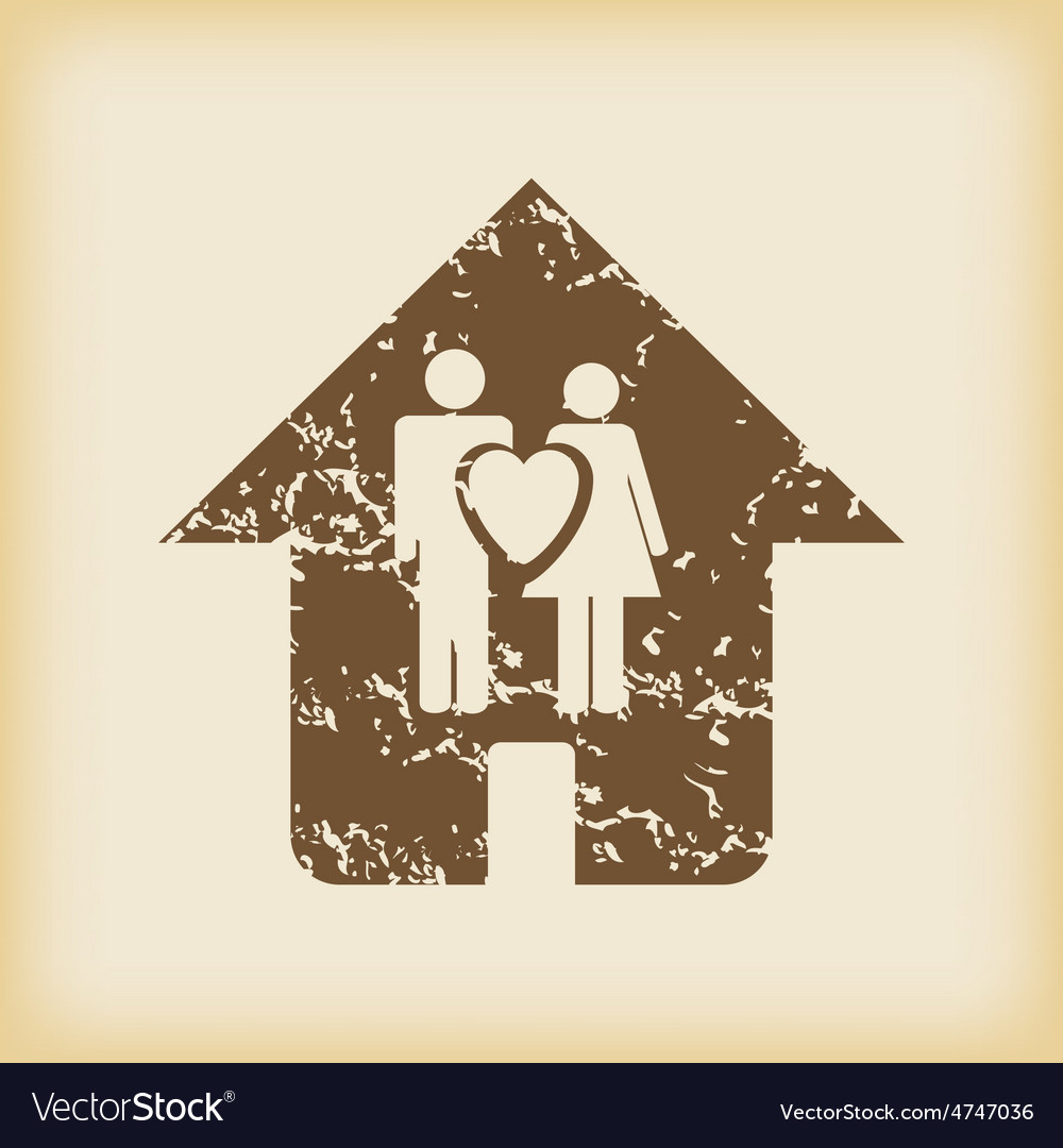 Grungy family house icon vector   Price: 1 Credit (USD $1)