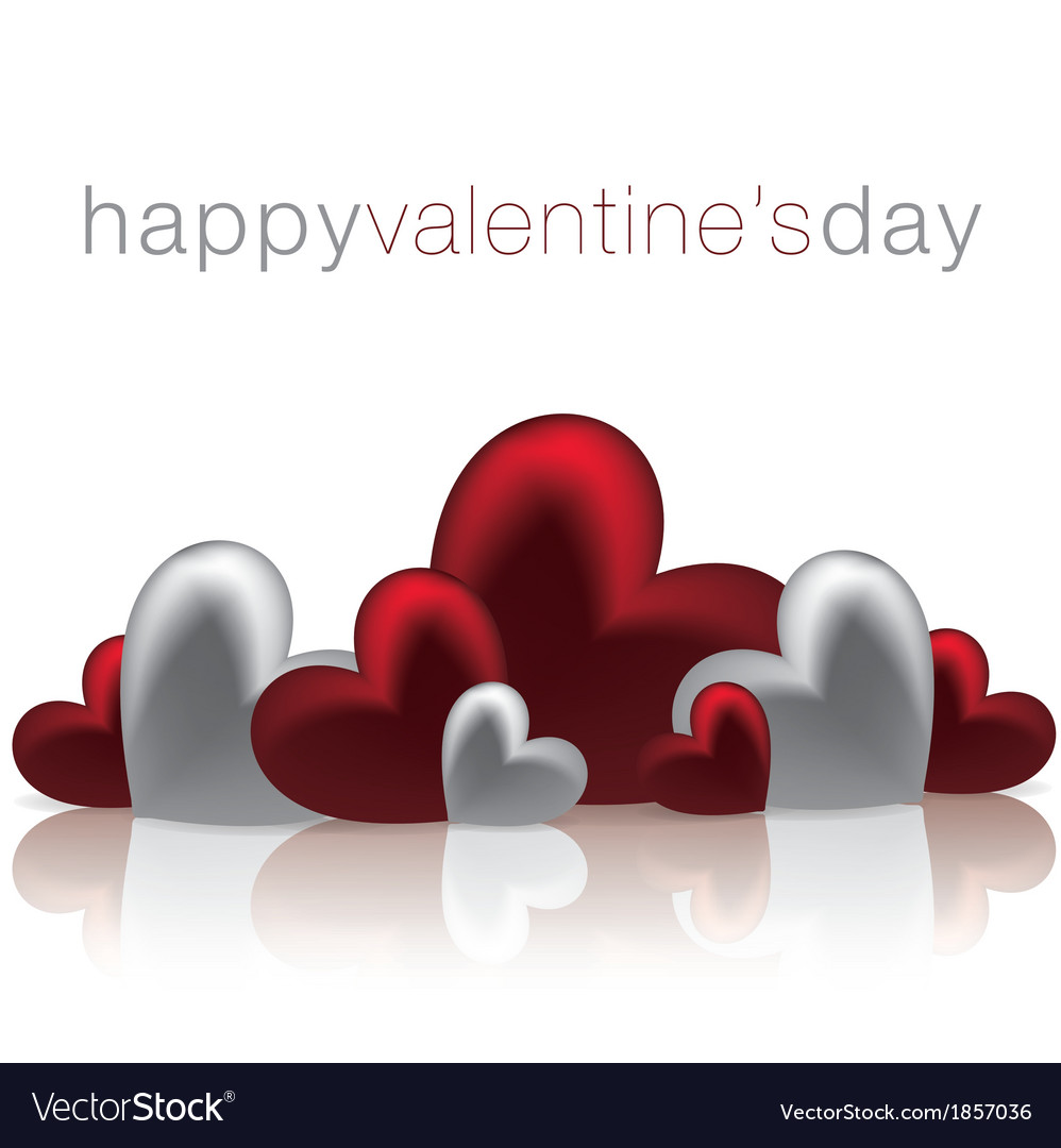 Hearts on a shiny surface valentines day card in vector | Price: 1 Credit (USD $1)