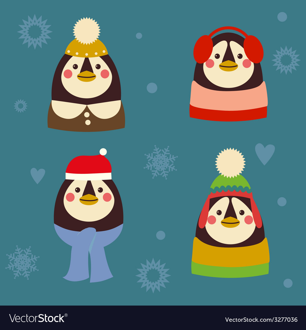 Holiday penguins family vector | Price: 1 Credit (USD $1)
