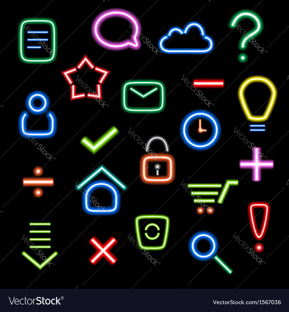 Neon icons vector | Price: 3 Credit (USD $3)