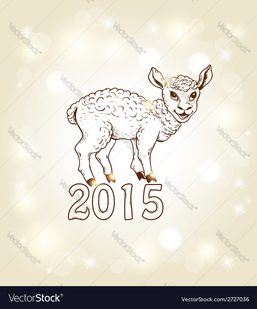 New year card with sheep vector | Price: 1 Credit (USD $1)