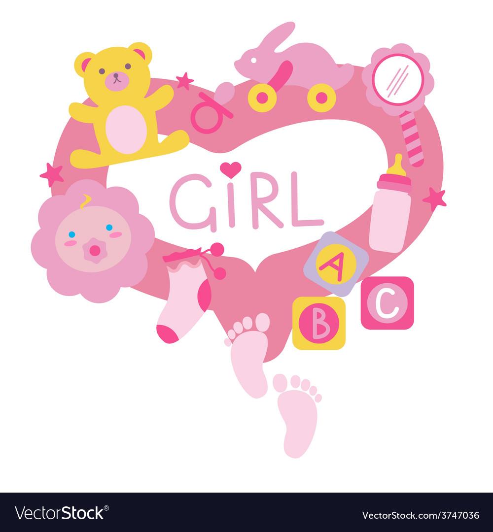 Newborn girl toys vector | Price: 1 Credit (USD $1)