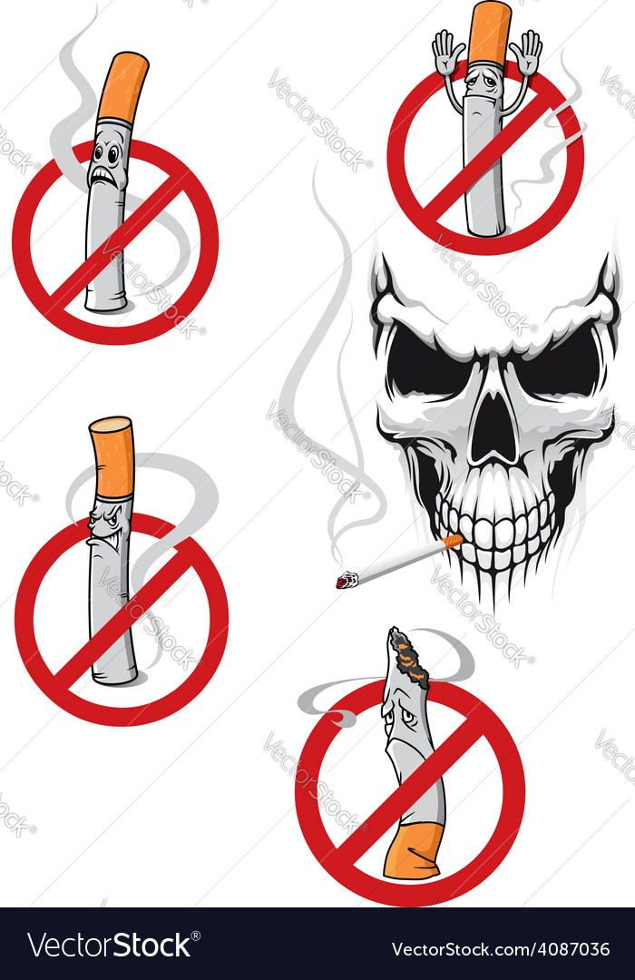 No smoking sign and skull vector | Price: 1 Credit (USD $1)