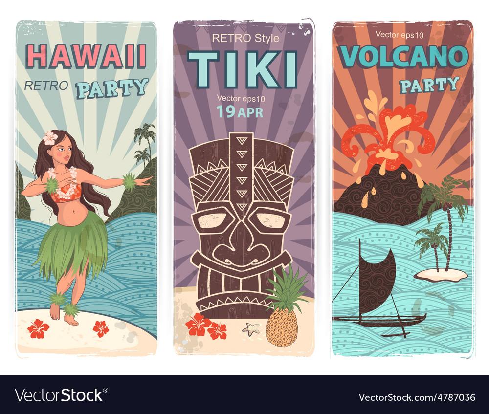 Retro set of banners with hawaiian symbols vector