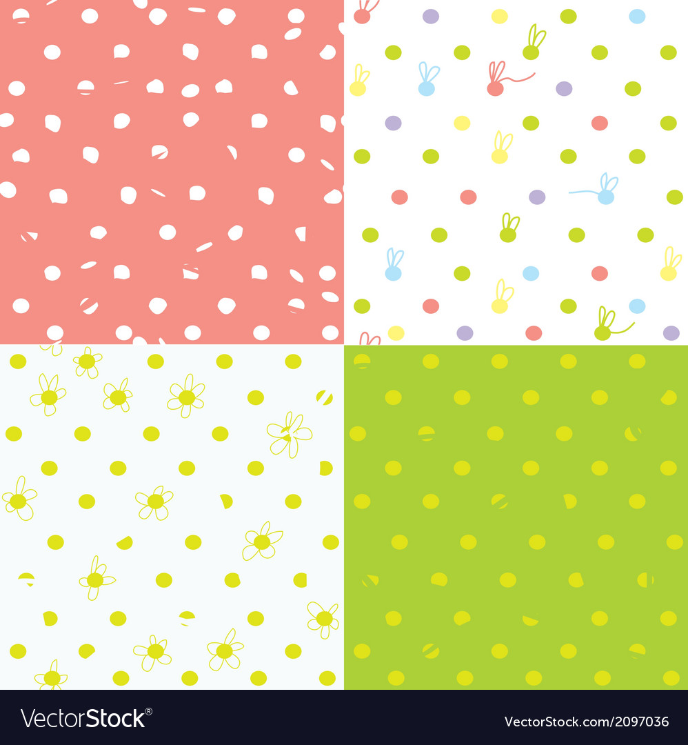 Seamless dots patterns cute design for children vector | Price: 1 Credit (USD $1)