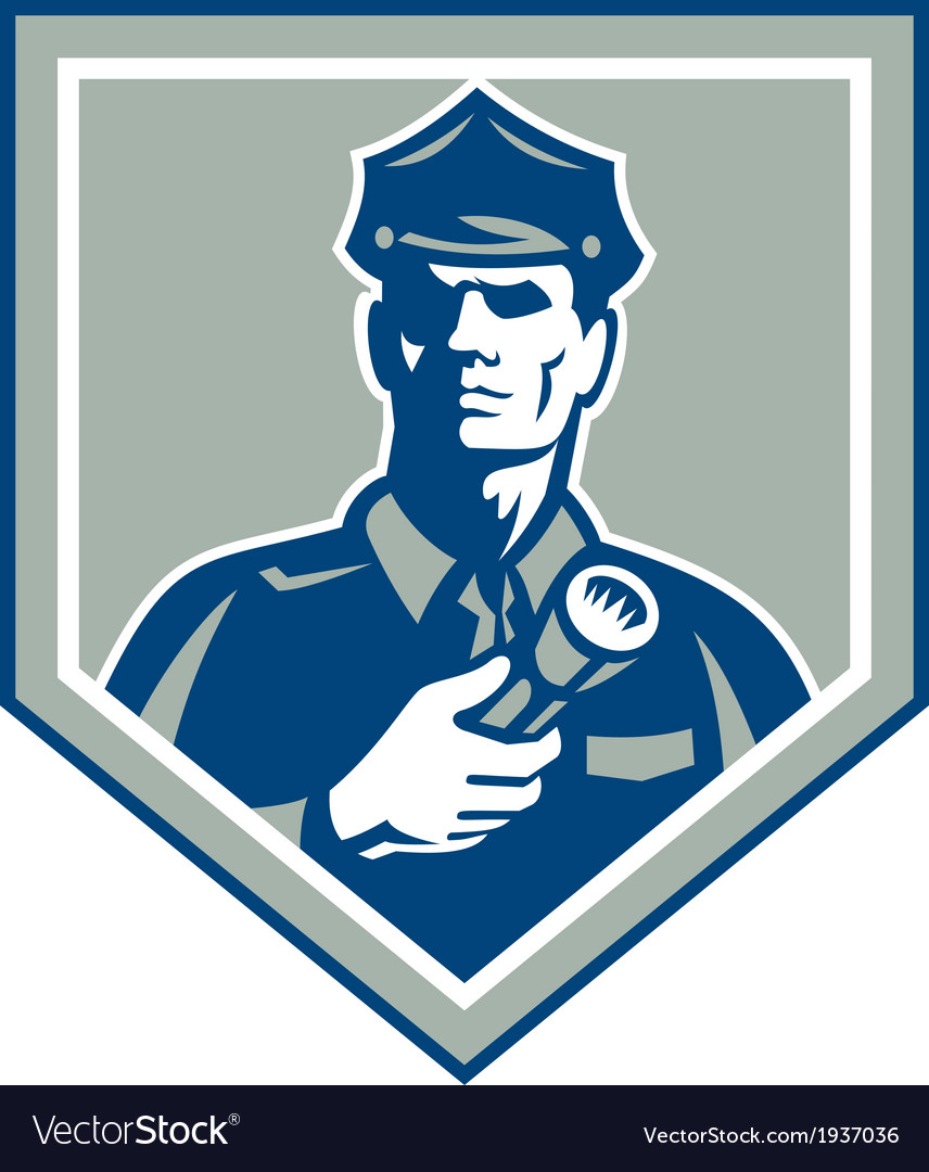 Security guard flashlight shield retro vector | Price: 1 Credit (USD $1)