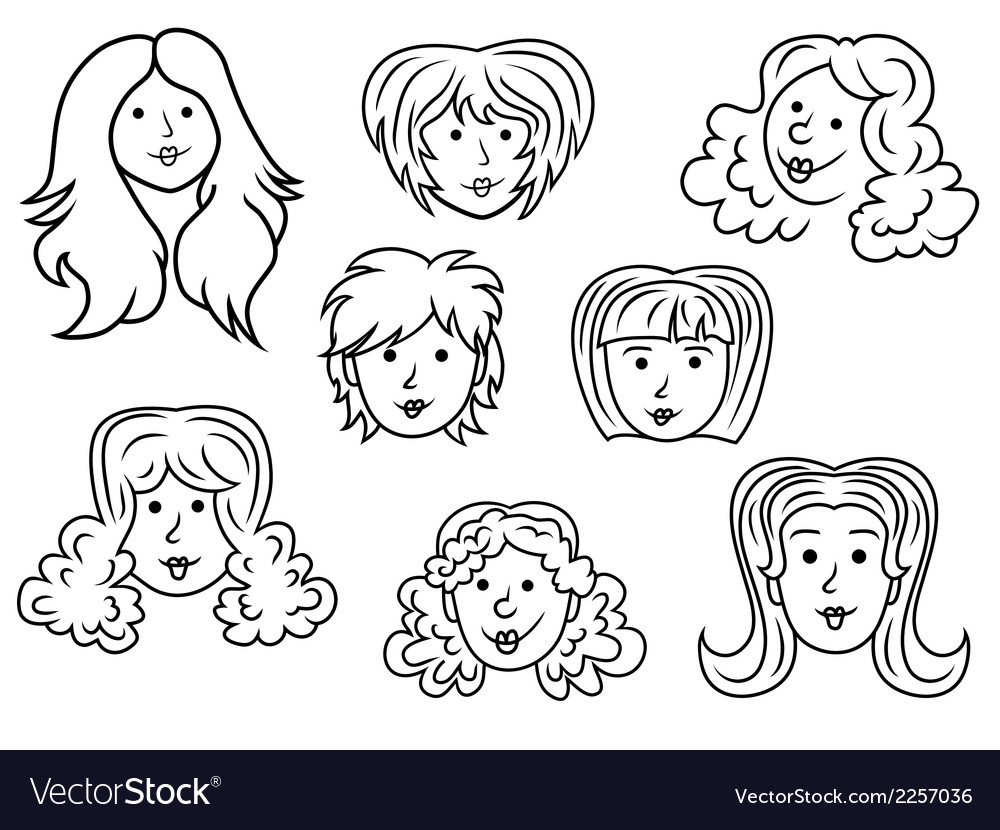 Set of eight cartoon women contour faces vector | Price: 1 Credit (USD $1)