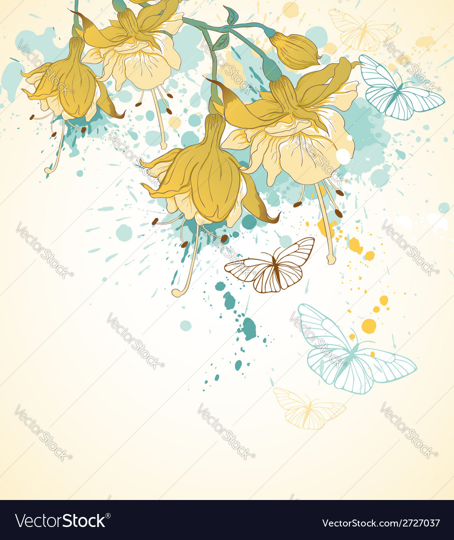 Background with yellow flowers and butterflies vector | Price: 1 Credit (USD $1)