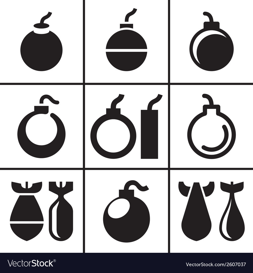 Bombs and rockets icons set vector | Price: 1 Credit (USD $1)