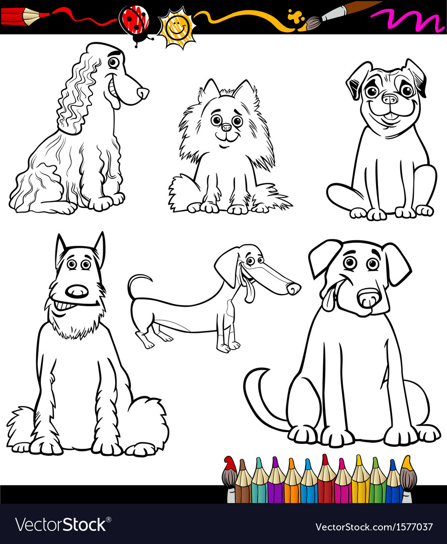 Cartoon dog breeds coloring page vector | Price: 1 Credit (USD $1)