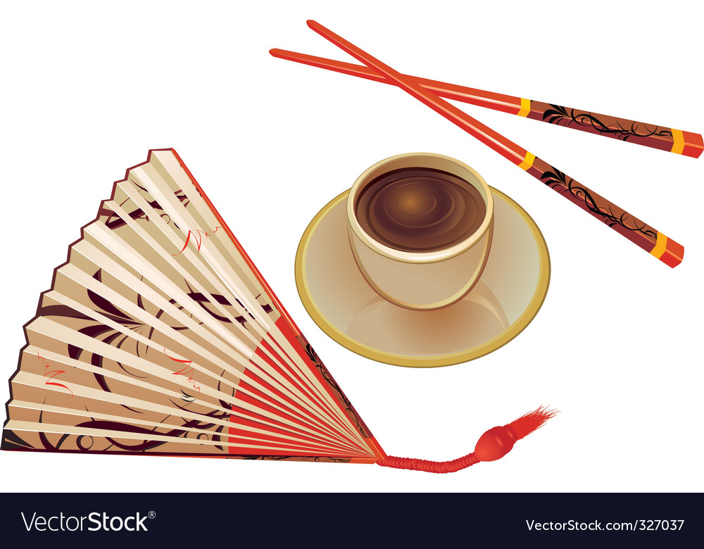 Chopsticks  fan and cup vector | Price: 1 Credit (USD $1)