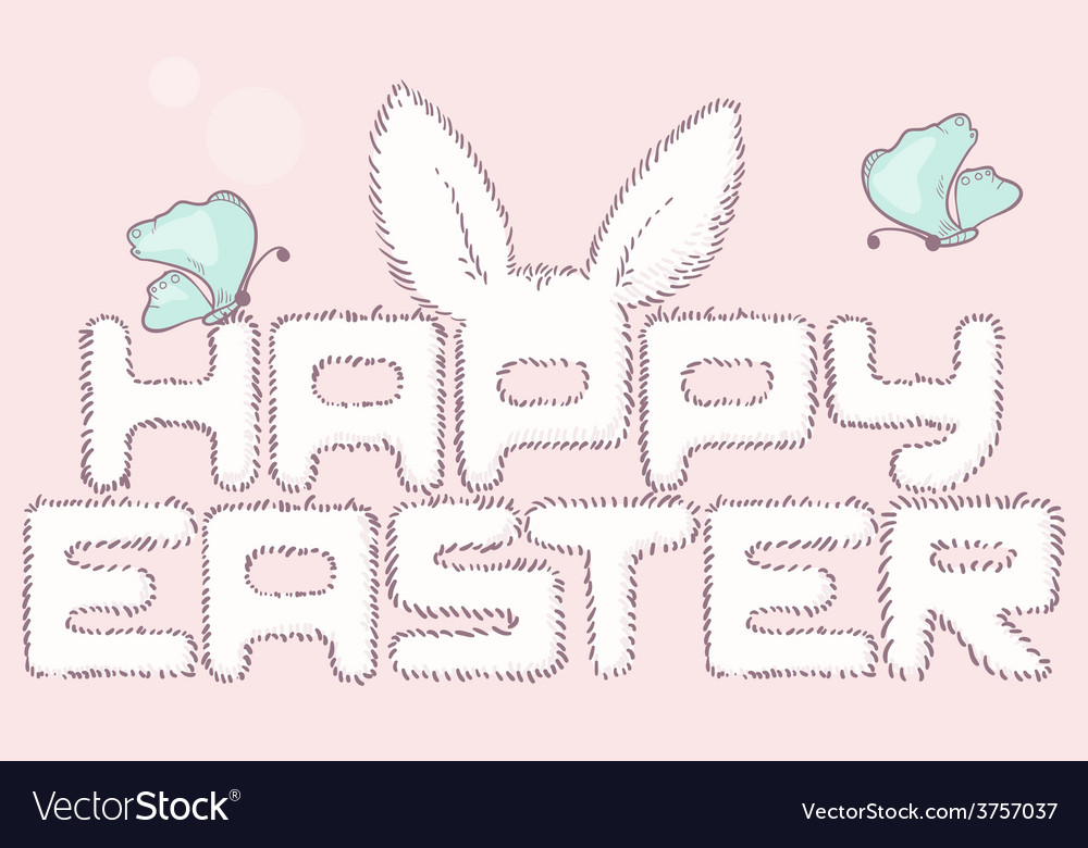 Happy easter furry inscription with butterfly vector | Price: 1 Credit (USD $1)