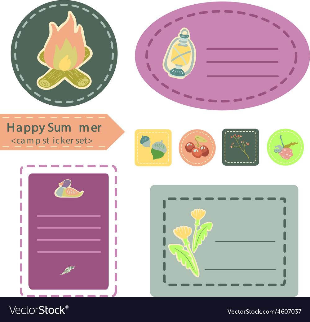 Happy summer camp sticker set vector   Price: 1 Credit (USD $1)