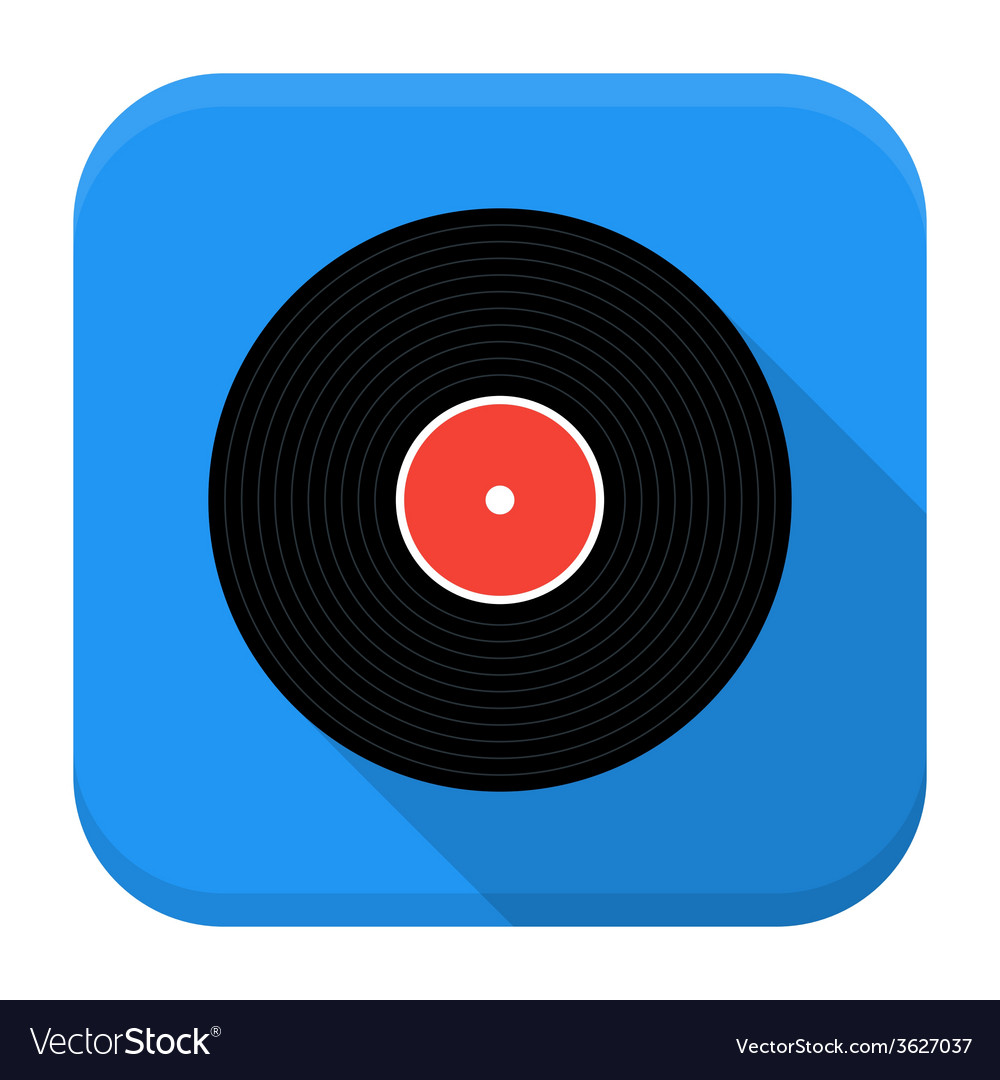 Music vinyl record flat app icon with long shadow vector | Price: 1 Credit (USD $1)