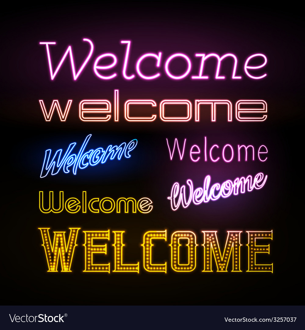 Neon sign welcome vector | Price: 1 Credit (USD $1)