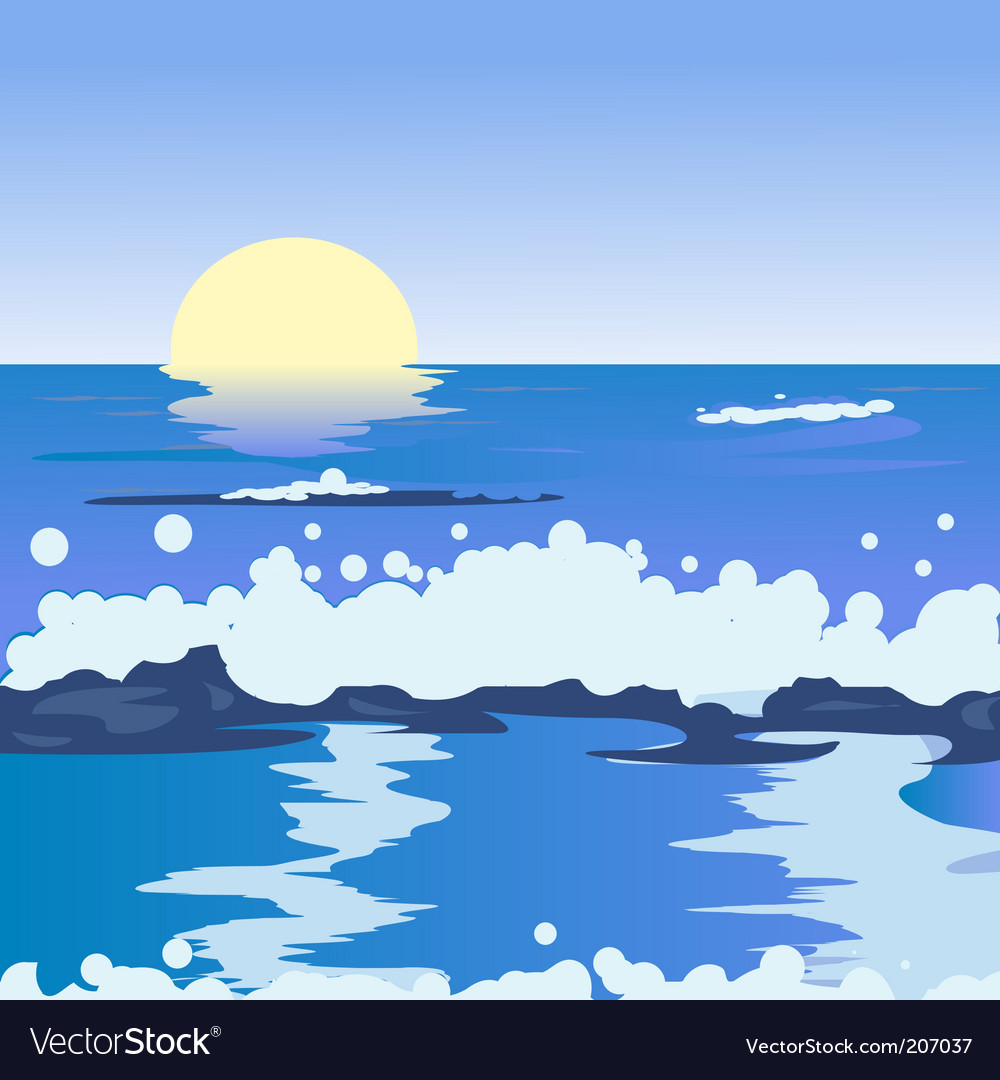Ocean landscape vector | Price: 1 Credit (USD $1)