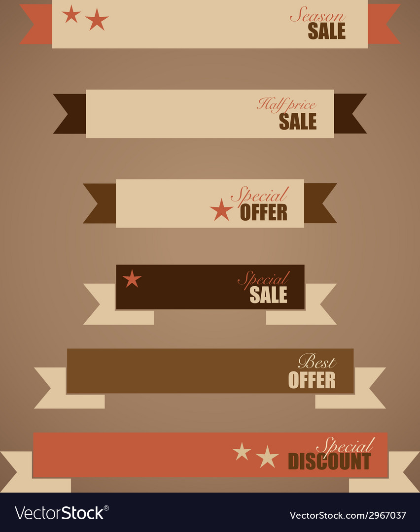 Price tag ribbon sale coupon voucher vintage style vector | Price: 1 Credit (USD $1)