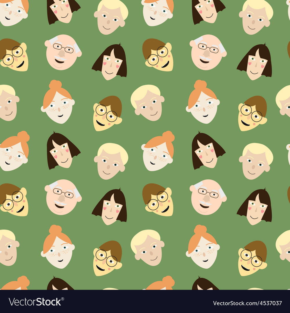 Seamless pattern with cartoon faces vector