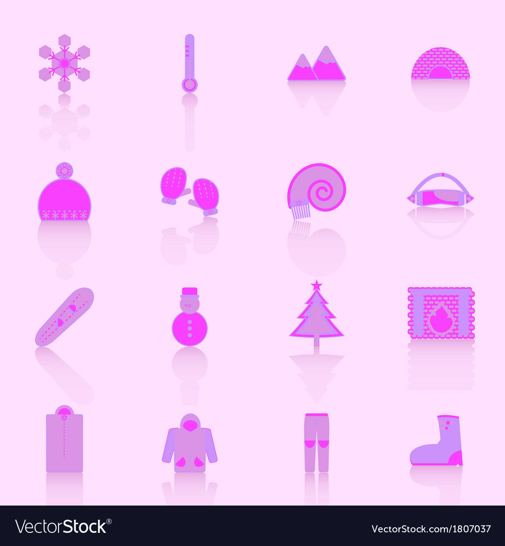 Winter icons with reflect on pink background vector | Price: 1 Credit (USD $1)