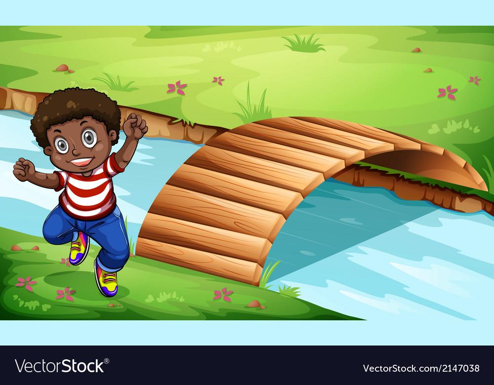 A happy black kid near the wooden bridge vector   Price: 3 Credit (USD $3)