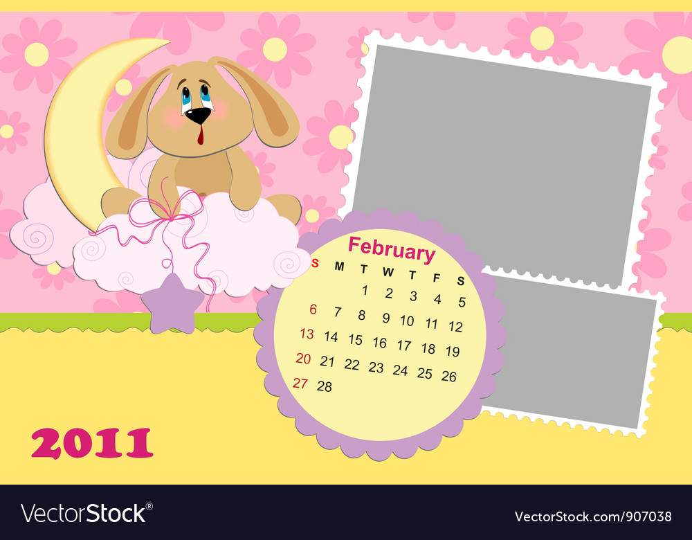 Babys monthly calendar for february 2011s vector | Price: 1 Credit (USD $1)