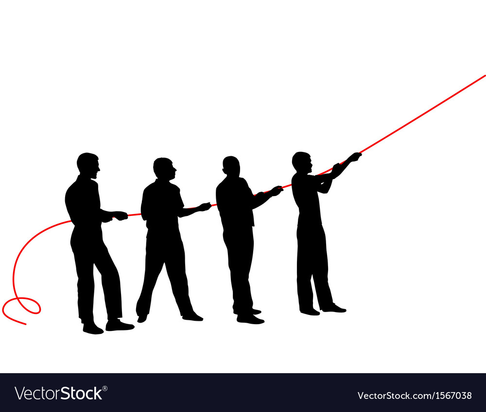 Black silhouettes of people pulling rope vector | Price: 1 Credit (USD $1)