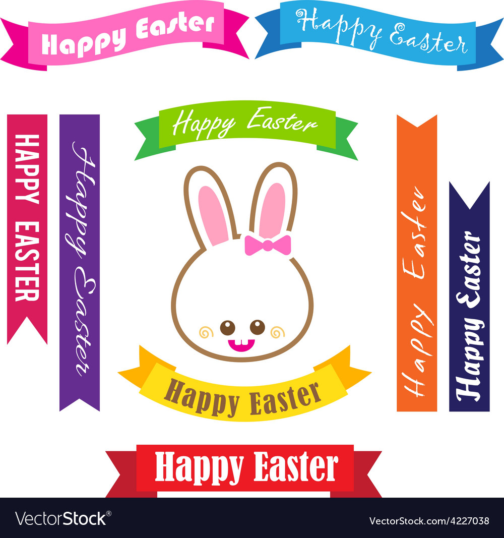 Collection of happy easter on ribbon tag vector | Price: 1 Credit (USD $1)