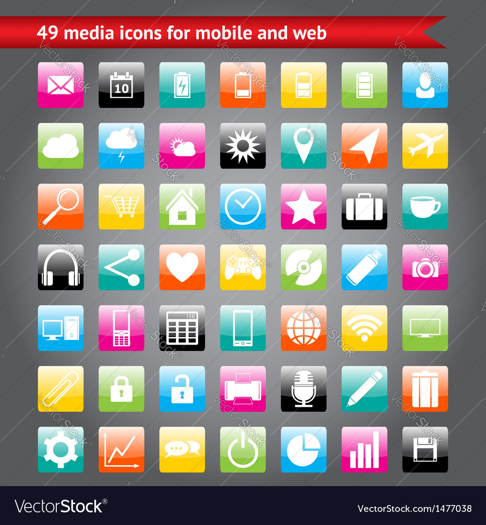 Colorful media icons for mobile and web vector | Price: 1 Credit (USD $1)