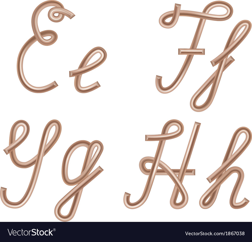 E f g h letters made of metal copper wire vector | Price: 1 Credit (USD $1)