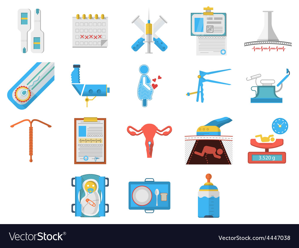 Flat design icons collection of gynecology vector | Price: 1 Credit (USD $1)