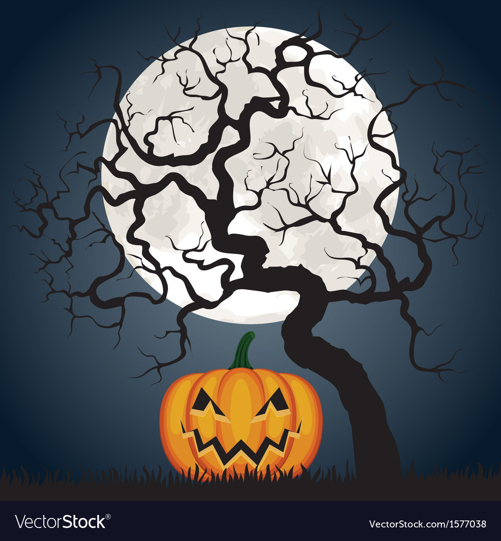 Halloween pumpkin and tree at night vector | Price: 1 Credit (USD $1)