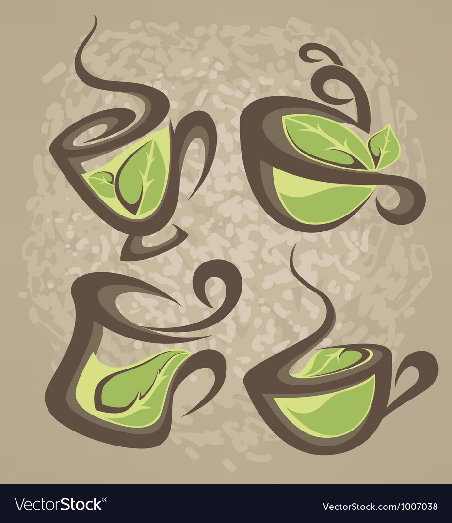 Herbal tea collection of cups vector | Price: 1 Credit (USD $1)